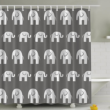 Ambesonne Big Elephant Small Elephant Print Shower Curtain