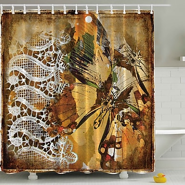 Ambesonne Vintage Lace w/ British Butterfly Print Shower Curtain