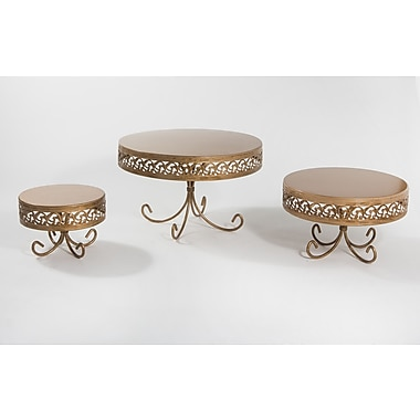 Opulent Treasures 3 Piece Loop Band Cake Plate Stand Set; Silver
