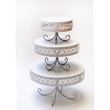 Opulent Treasures 3 Piece Loop Band Cake Plate Stand Set; White