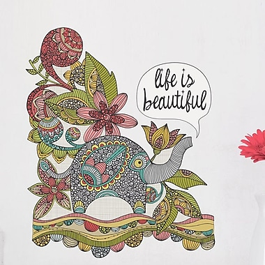 My Wonderful Walls Floral Elephant Life Is Beautiful Wall Decal; Medium