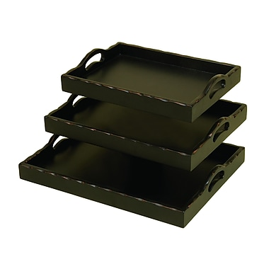 Cole & Grey 3 Piece Wood Tray Set