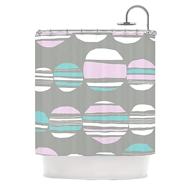 KESS InHouse Retro Circles Shower Curtain; Pastel