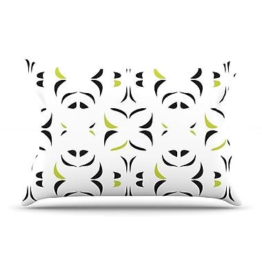 KESS InHouse Retro Green Snow Storm Pillow Case; King