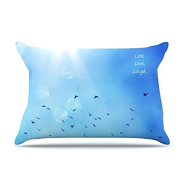 KESS InHouse Live Laugh Love Pillow Case; King