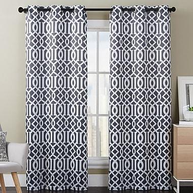 Luxury Home Aaron Geometric Room Darkening Curtain Panels (Set of 2); Dark Charcoal