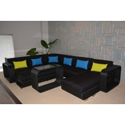 Wicked Wicker Riviera Deluxe 5 Piece Sectional Seating Group w/ Cushions; Black