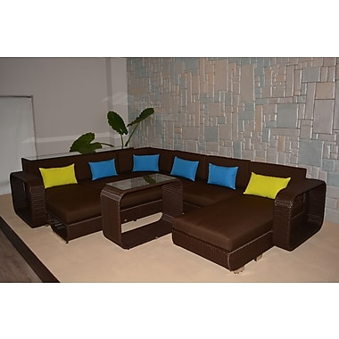 Wicked Wicker Riviera Deluxe 5 Piece Sectional Seating Group w/ Cushions; Chocolate Brown