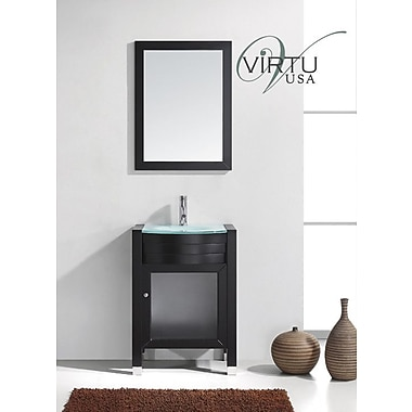 Virtu Ava 24'' Single Bathroom Vanity Set w/ Mirror; Espresso