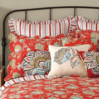 Laurel and Mayfair Jacobean Quilted Sham; Red