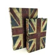 KMPG 2 Piece British Flag Faux Leather Book Box Set