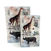 KMPG 2 Piece Giraffe & Rhino Faux Leather Book Box Set