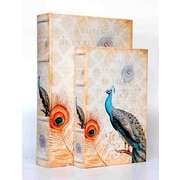 KMPG 2 Piece Peacock Print Faux Leather Book Box Set