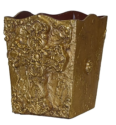 Hickory Manor House Cross Waste Basket; Gold
