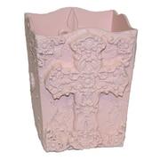 Hickory Manor House Cross Waste Basket; Powderpuff Pink