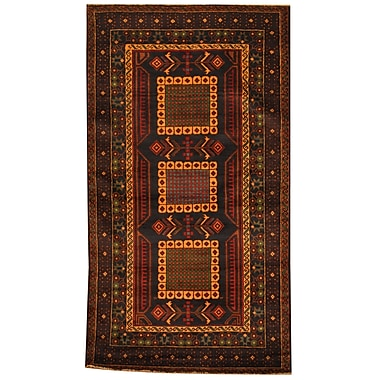 Herat Oriental Balouchi Tribal Balouchi Hand-Knotted Navy/Brown Area Rug