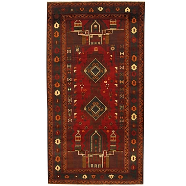 Herat Oriental Balouchi Tribal Balouchi Hand-Knotted Red/Green Area Rug