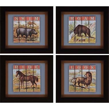 Paragon Animals 4 Piece Framed Graphic Art Set