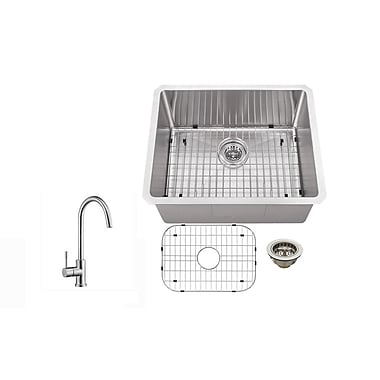 Soleil 23'' x 19'' Stainless Steel 16 Gauge Radius Single Bowl Bar Sink w/ Faucet
