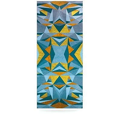 KESS InHouse Abstraction Graphic Art Plaque; Blue and Gold