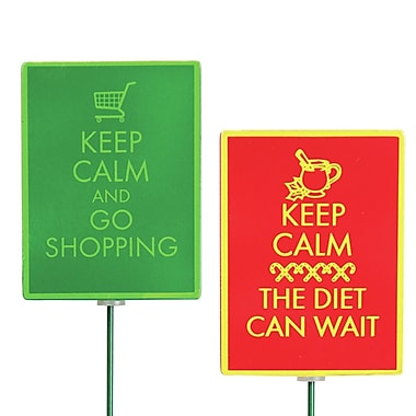 Exhart 2 Piece Keep Calm Stake Set