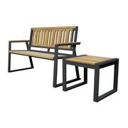 Asta Furniture, Inc. California Room Chino Teak and Iron Park Bench; Black