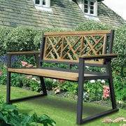 Asta Furniture, Inc. California Room Chippendale Teak and Iron Garden Bench; Black