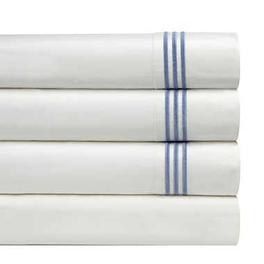 Pointehaven 300 Thread Count Embroidered Euro Sham (Set of 2); Blue