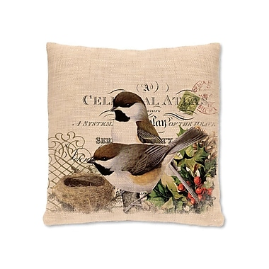 Heritage Lace Winter Garden Chickadees Pillow Cover; 18'' H x 18'' W
