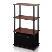 Furinno Go 43'' Etagere Bookcase (Set of 2); Dark Cherry