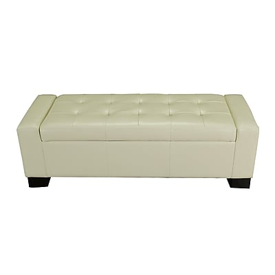 AdecoTrading Large Accents Rectangular Tufted Storage Ottoman; Cream