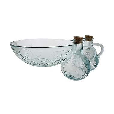 French Home Swirl 3 Piece Glass Serving Bowl Set; Ice Clear