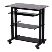 HomCom Mobile Office Writing Desk; Black
