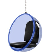 Fine Mod Imports Bubble Hanging Chair Blue Acrylic, Black (FMI10152-black)