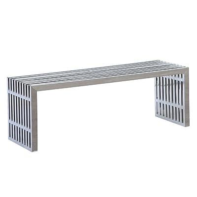 Fine Mod Imports Zeta Stainless Steel Bench Long, Silver (FMI9278-silver)