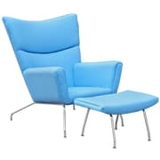 Fine Mod Imports Wing Chair and Ottoman in Wool, Blue (FMI1202-blue)