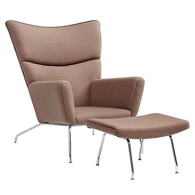 Fine Mod Imports Wing Chair and Ottoman in Wool, Khaki (FMI1202-khaki)