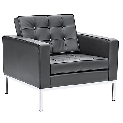 Fine Mod Imports Button Arm Chair in Leather, Black (FMI2201-black)