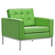 Fine Mod Imports Button Arm Chair in Leather, Green (FMI2201-green)