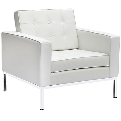 Fine Mod Imports Button Arm Chair in Leather, White (FMI2201-white)