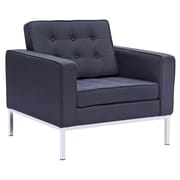 Fine Mod Imports Button Arm Chair in Wool, Black (FMI2214-1-black)