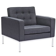 Fine Mod Imports Button Arm Chair in Wool, Gray (FMI2214-1-gray)