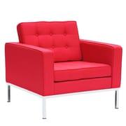 Fine Mod Imports Button Arm Chair in Wool, Red (FMI2214-1-red)