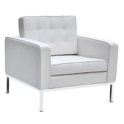 Fine Mod Imports Button Arm Chair in Wool, White (FMI2214-1-white)