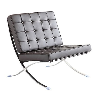 Fine Mod Imports Pavilion Chair in Italian Leather, Black (FMI4000P-black)