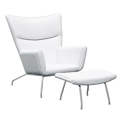 Fine Mod Imports Wing Chair and Ottoman in Leather, White (FMI9233-white)