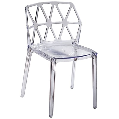 Fine Mod Imports Zig Zag Dining Chair, Clear (FMI10028-clear)