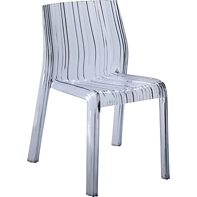Fine Mod Imports Stripe Dining Chair, Clear (FMI10029-clear)