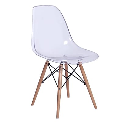 Fine Mod Imports GlossWood Dining Side Chair, Clear (FMI10087-clear)