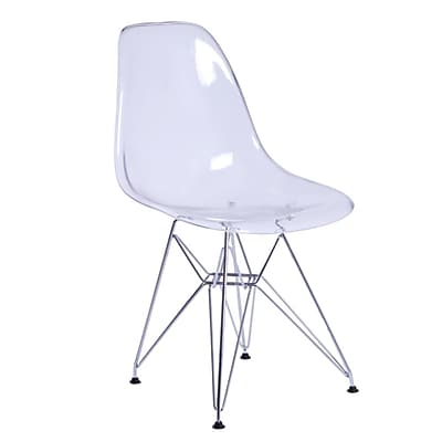 Fine Mod Imports GlossWire Dining Side Chair, Clear (FMI10088-clear)